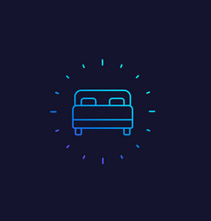 bedroom bed line icon vector image