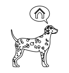 Black contour with dalmatian dog thinkin home vector