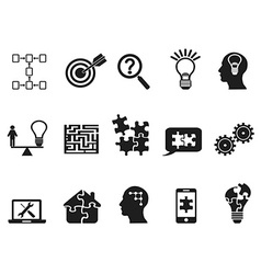 black solution icons set vector image vector image
