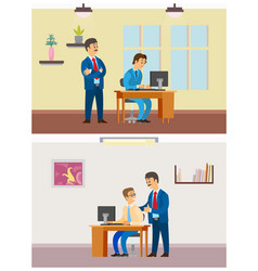 Boss supervising new worker by laptop office job vector