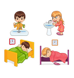 Boy and girl lifestyle set vector