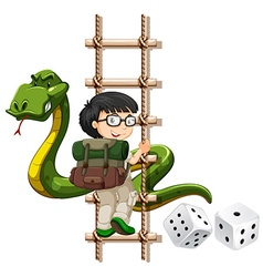 Boy and snake climbing up the ladder vector
