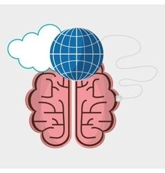 brain connection globe cloud technology vector image