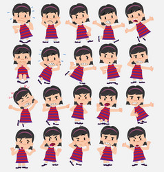 Cartoon character girl set with different vector