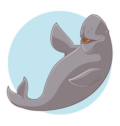 cartoon smiling dugong vector image