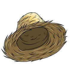 Cartoon straw farmer hat icon vector