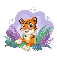 Cartoon tiger with beauty plants vector