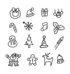 Christmas icon set doodle christmas holiday image vector