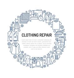 Clothing repair alterations studio equipment vector