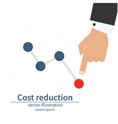 Cost down reduction concept cost down businessman vector