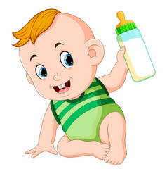 cute baby playing and hold the milk bottle vector image