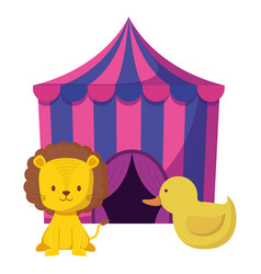 Cute circus lion in tent and duck vector