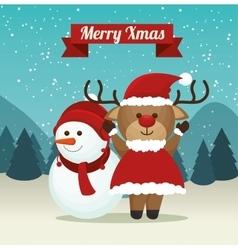 Cute reindeer snowman suit santa landscape vector