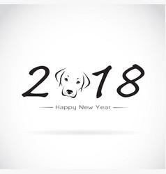 Dog 2018 new year card year of vector