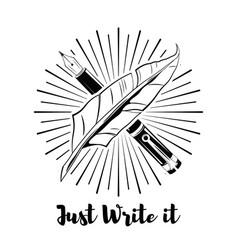 Feather logo an ink pen vector