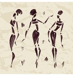 Figures of african dancers Hand drawn vector image
