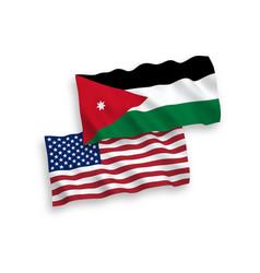 flags hashemite kingdom jordan and america vector image