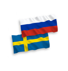 Flags sweden and russia on a white background vector