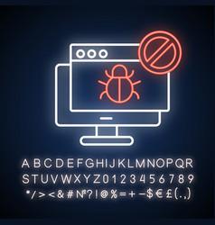 Forbidden website neon light icon vector