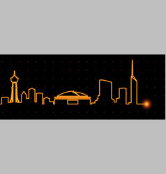 Fukuoka light streak skyline vector
