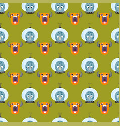 funny cartoon monster seamless pattern cute alien vector image