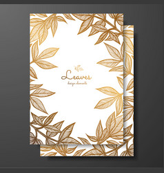 gold floral card template with peony leaves vector image