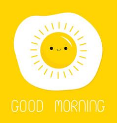Good morning fried scrambled egg icon yolk vector
