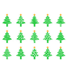 Green christmas tree icons set vector