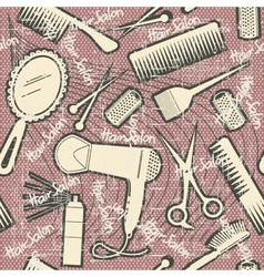 Hairdressing equipment seamless patternVintage vector