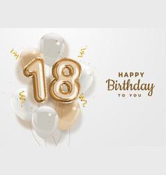 Happy 18th birthday gold foil balloon greeting bac vector