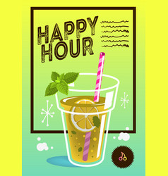 Happy hour poster design with a glass of lemonad vector
