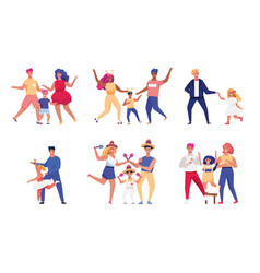 happy parents and children dancing together vector image