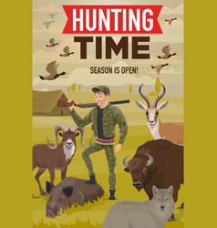 Hunter with hunting trophy gun animals and birds vector
