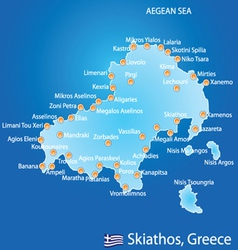 Island of Skiathos in Greece map vector
