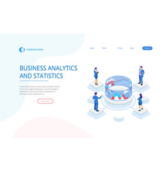 Isometric expert team for data analysis business vector