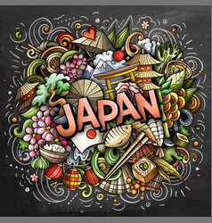 Japan hand drawn cartoon doodles vector
