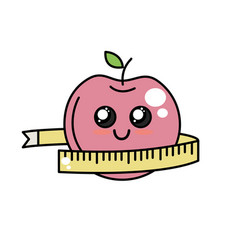 Kawaii cute happy apple with tape measuring vector