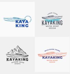 kayaking abstract signs symbols or logo templates vector image