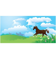 Landscape with horses vector