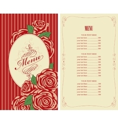 menu for the restaurant with roses vector image