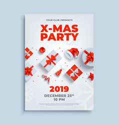 merry christmas party layout poster poster vector image