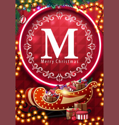 merry christmas postcard with neon ring vector image