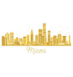 Miami usa city skyline golden silhouette vector