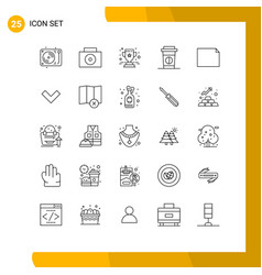 Modern set 25 lines pictograph down vector
