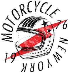 motorcycle helmet typography new york sports club vector image