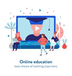 online education flat composition vector image