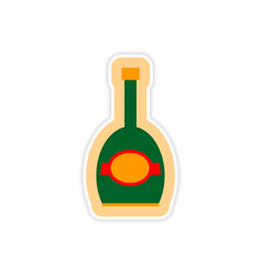 Paper sticker on white background bottle of vector