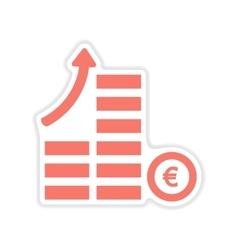 Paper sticker on white background coins graph vector