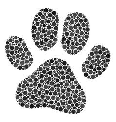 paw footprint mosaic of dots vector image