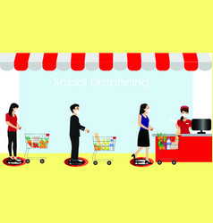 People and social distaning in supermarket vector